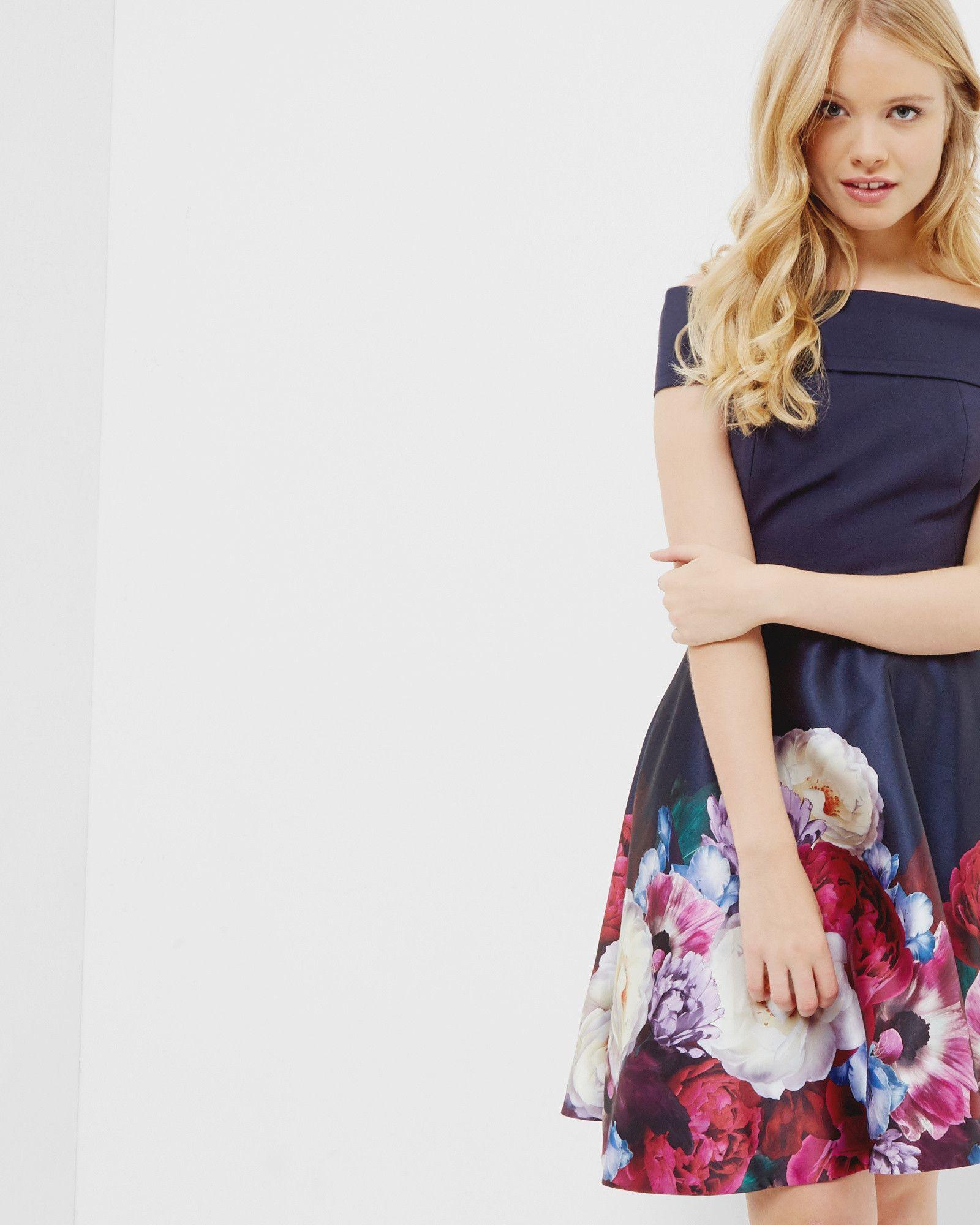 4052cb8b3d73 Blushing Bouquet Bardot dress - Navy | Dresses | Ted Baker UK ...