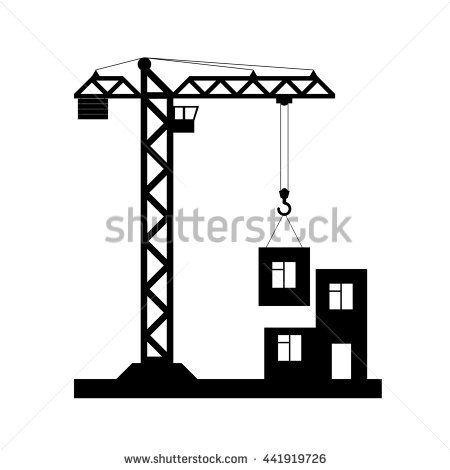 Building Tower Crane Icon Flat Design Raster Copy Of Vector File