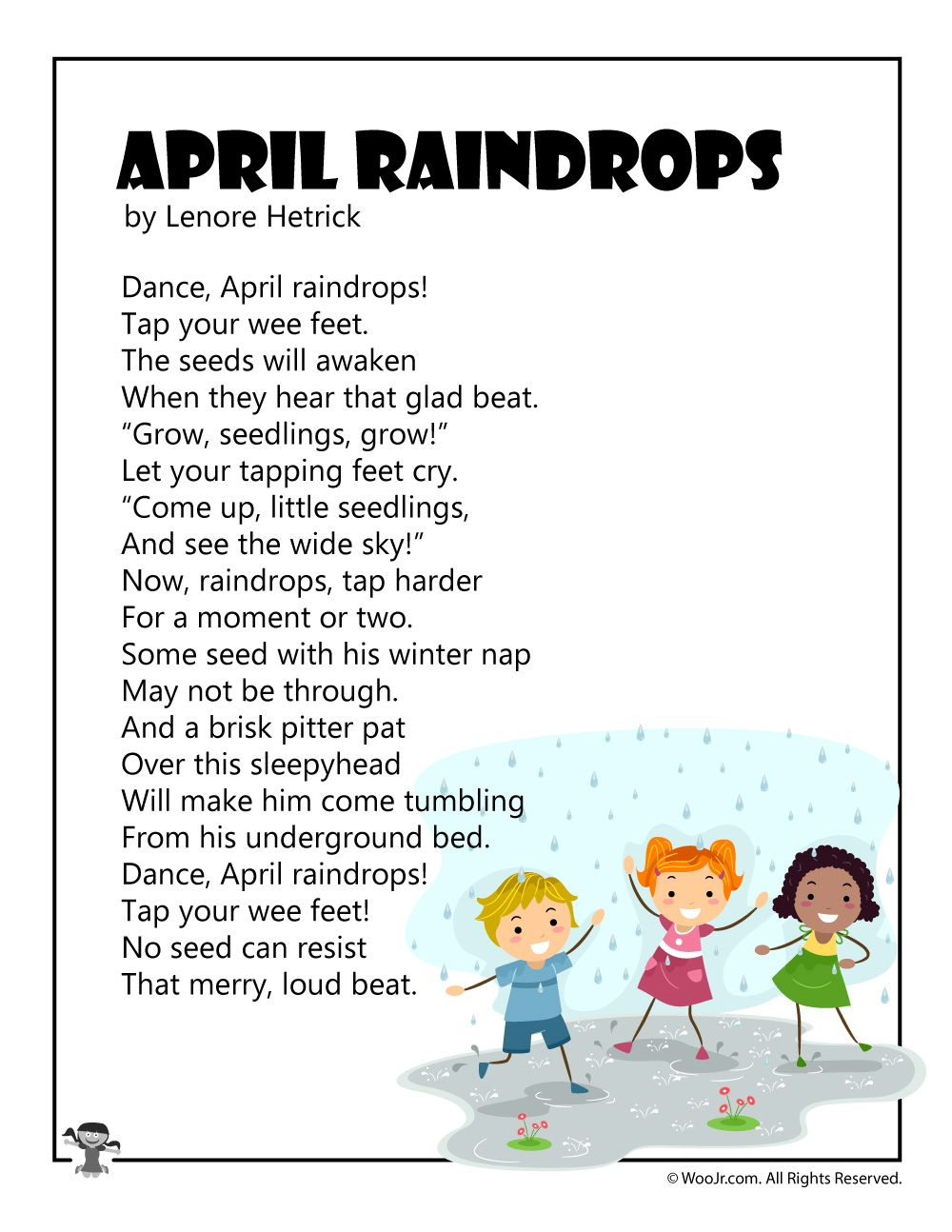 Kid S Poems For The Month Of April Spring Activities For Kids