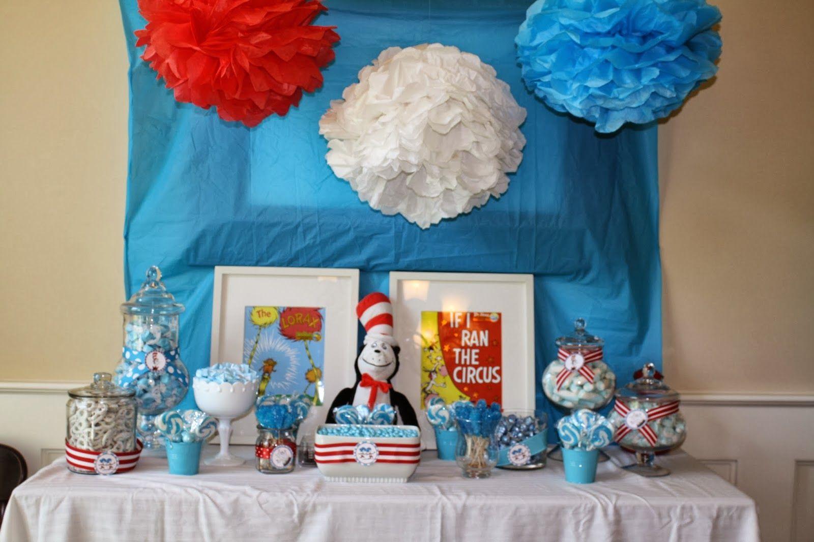 Dr. Seuss baby shower-candy buffet