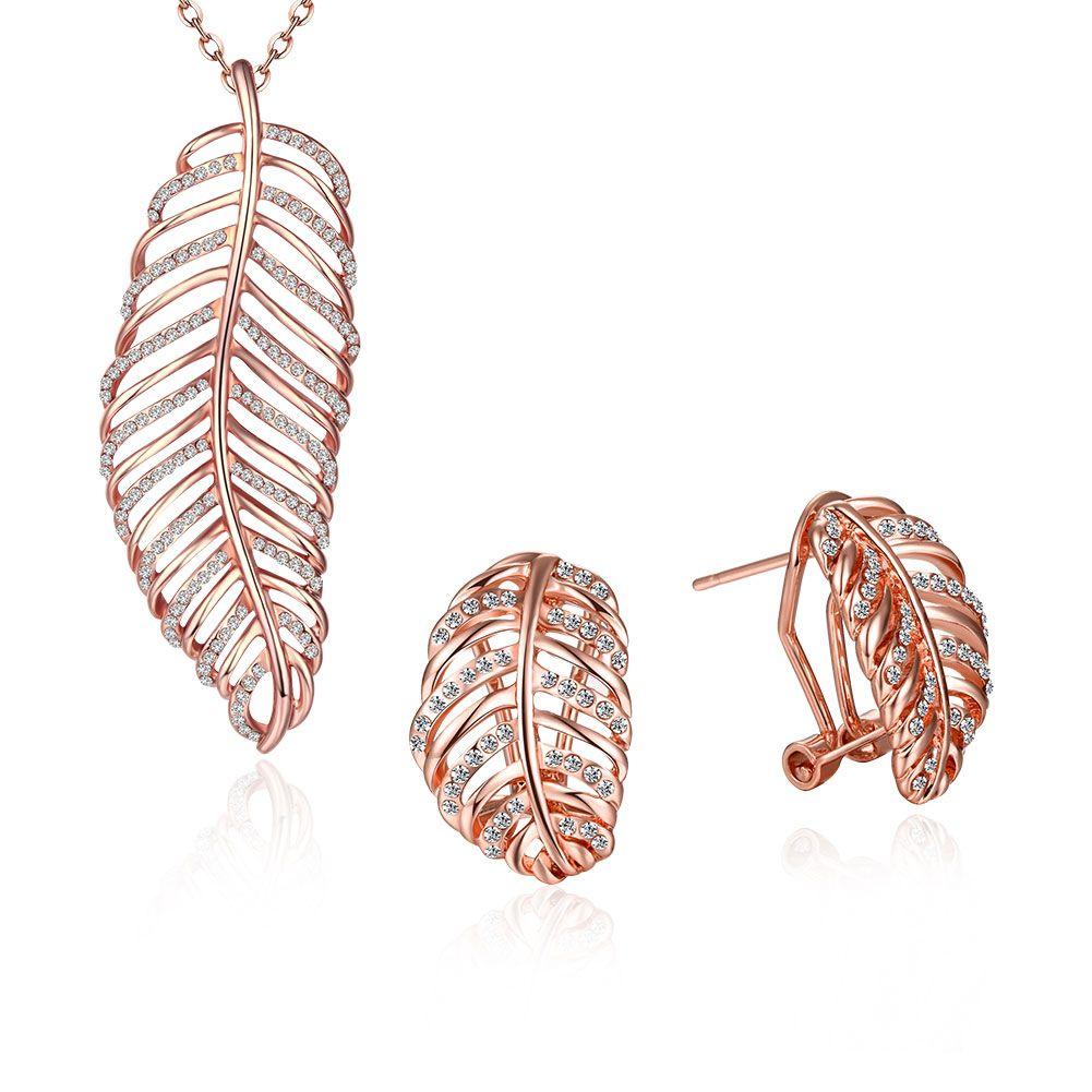 Ann u snow brand design rose gold color hollow leaf crystal clip