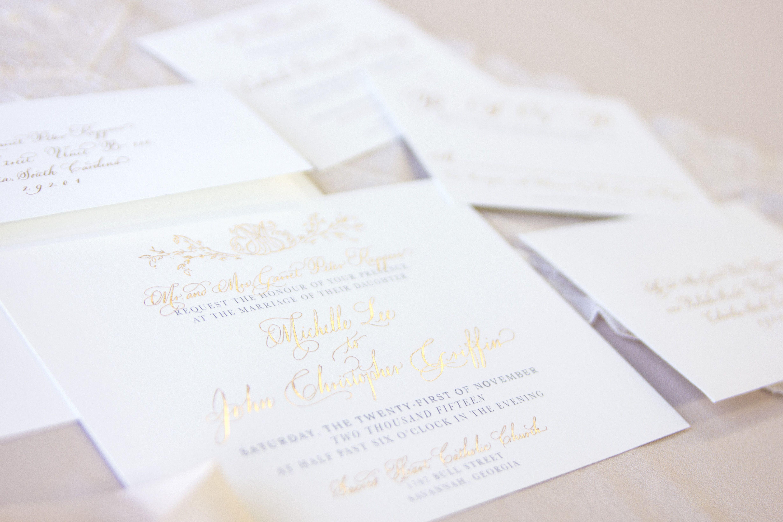 Custom wedding stationery • Rose Gold foil invitation with custom ...