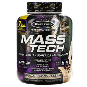 Muscletech Mass Tech Scientifically Superior Mass Gainer Cookies And Cream 7 00 Lb 3 18 Kg Mass Gainer Muscletech Nutrition Branding