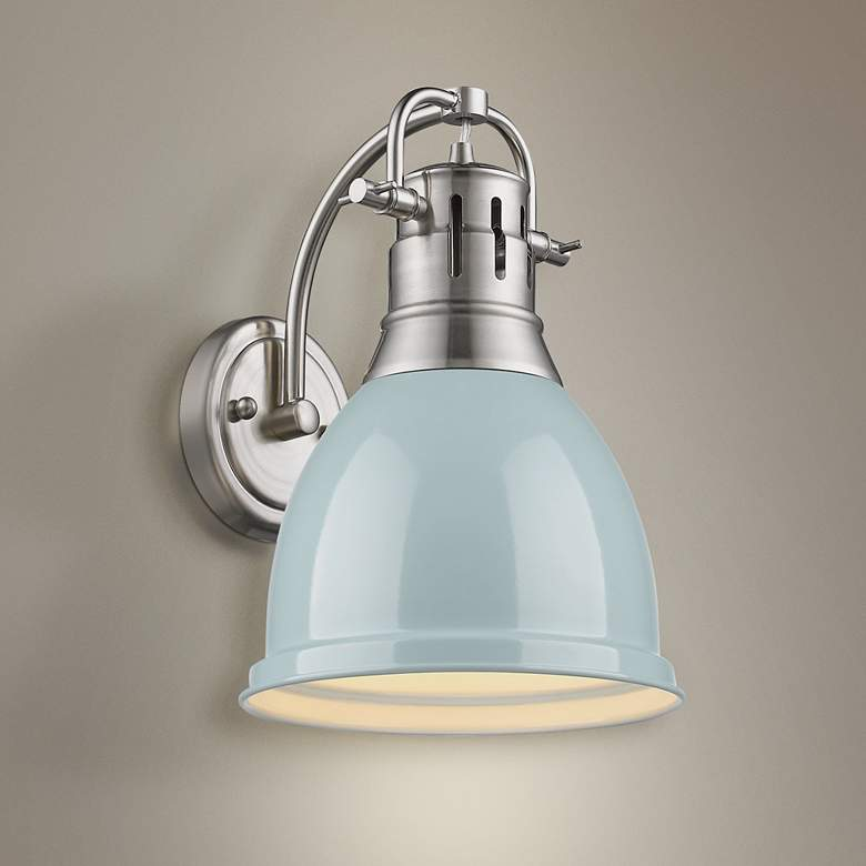 Duncan 13 High Gloss Seafoam Shade Pewter Wall Sconce 9k906 Lamps Plus In 2020 Wall Mount Light Fixture Sconces Bathroom Wall Sconces