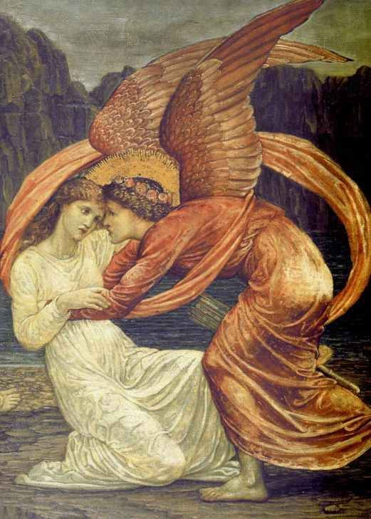 """Edward Burne-Jones' """"By facing our fears and pains - becoming conscious of our conflicts - we can find peace. New realizations appear in their embryonic stage as conflicts which offer us choices in life. These decision points become either our life's path or roads-not-taken. Eros, like Fate, is symbolic of the fatal power of attraction which brings opposites together.He is the incarnating life principle, which ushers in the irrational, passionate intensity which makes transformation.."""