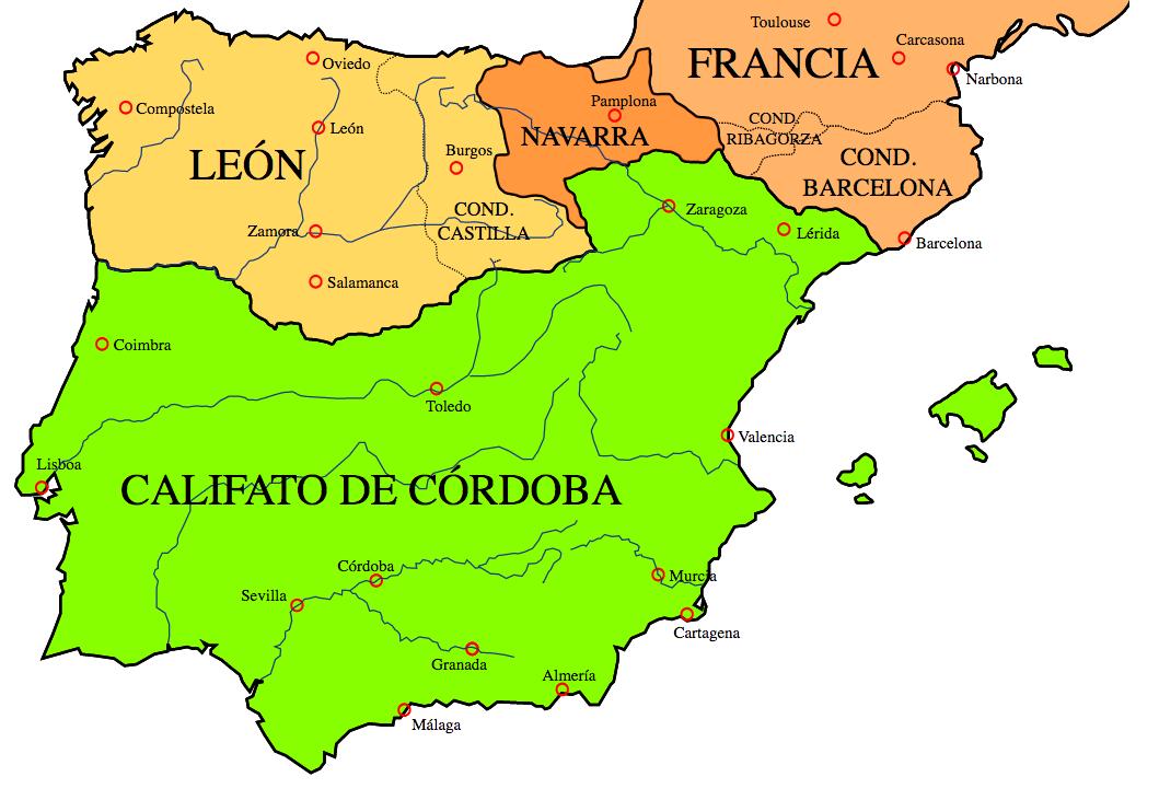 El Califato de Córdoba hacia el año 1000
