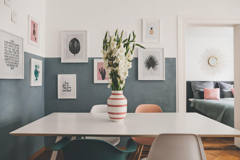 Wand Halb Gestrichen Mit Bildern: Ideen Für Die Wandgestaltung   Wand Halb  Blaugrau Gestrichen Mit
