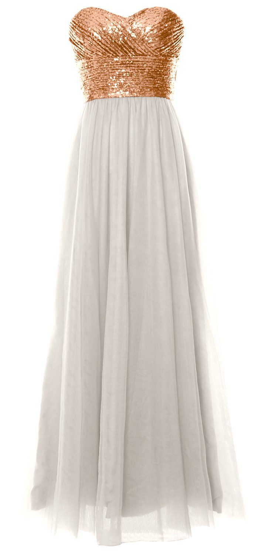 Macloth women long bridesmaid dress strapless sequin wedding party