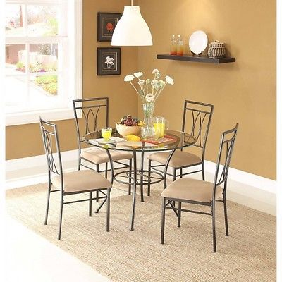 5 Piece Glass Dining Set Stylish Metal Table Chairs Round 42 Kitchen Furniture Round Dining Room Dining Room Table Set Glass Dining Table Set