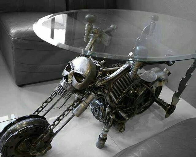 Badass skull motorcycle table My future home Pinterest Badass