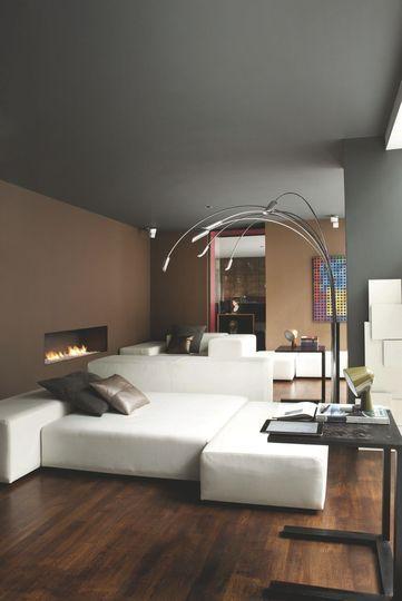 De La Peinture Des Murs Au Plafond Dans Ce Salon   Refaire Le Salon : 10  Ambiances Inspirantes   CôtéMaison.fr