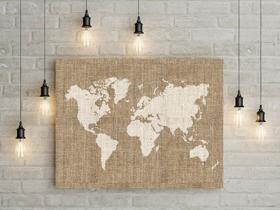 Printable burlap world map wall art rustic wall decor home wall printable burlap world map wall art rustic wall decor home wall print world gumiabroncs Image collections