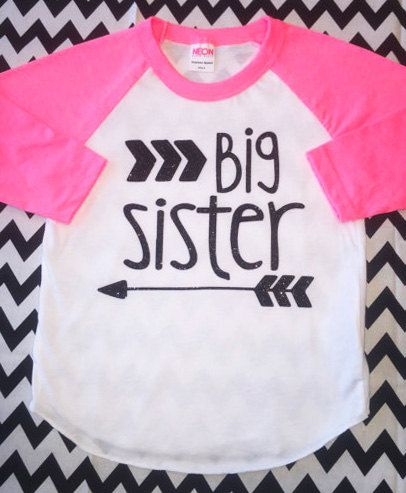 2fcd66e85 Big Sister Little Sister Glitter Shirt Siblings Toddler Girl Top Sparkle  Neon Pink Raglan Hipster Baby