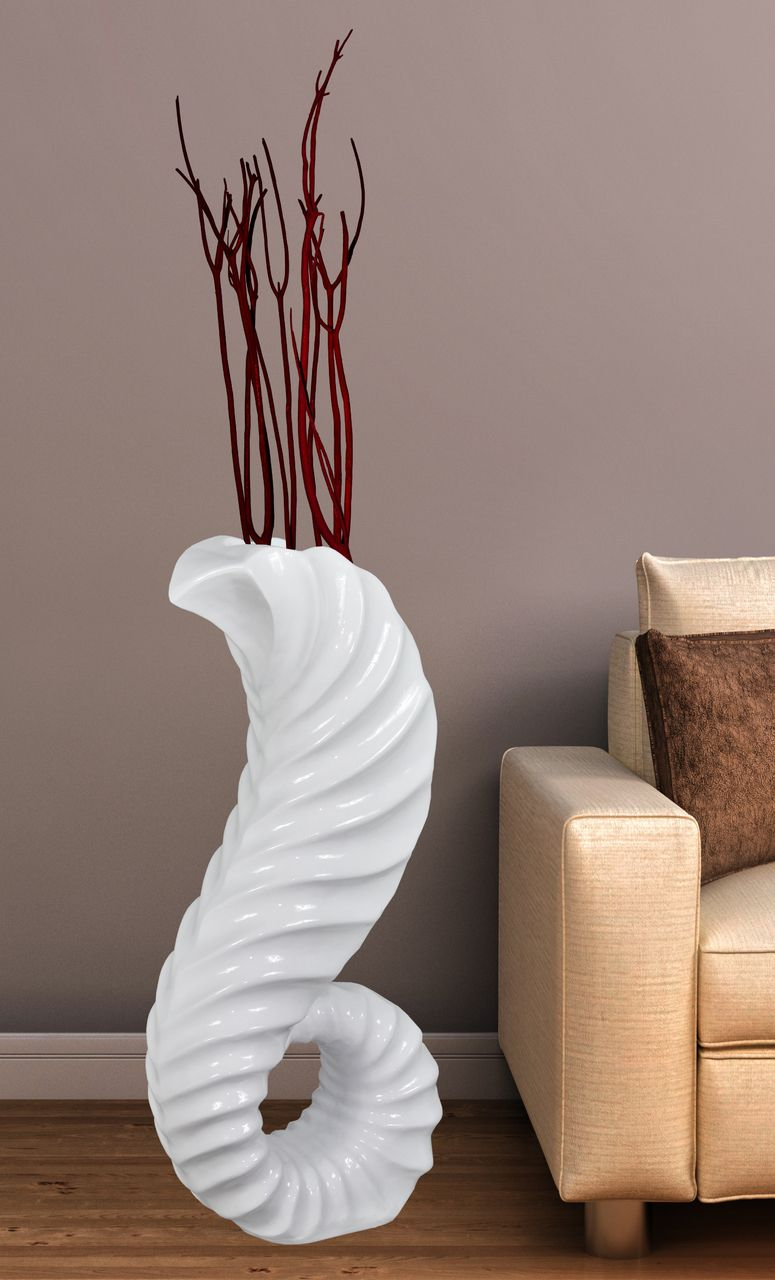Large White Horn Floor Vase 32 In High Large Floor Vase Tall Floor Vases Floor Vase