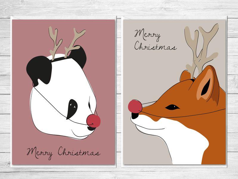 Weihnachtskarten   4er Set   Rudolf? von CheepCheep auf DaWanda.com