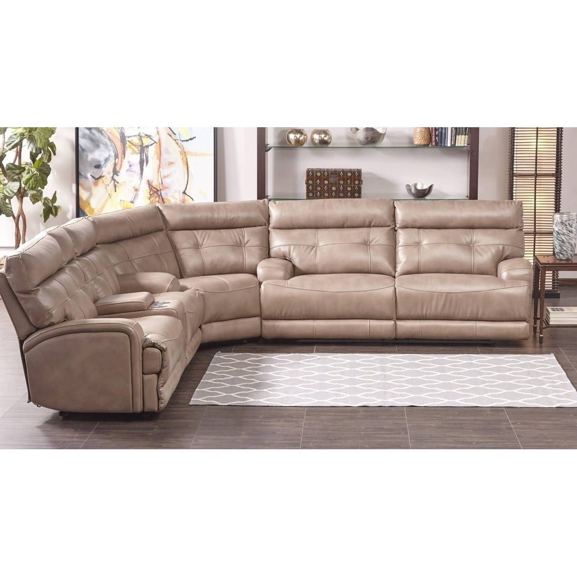 Enjoyable Lyke Home Jakoby Taupe Leather Gel Power Recliner Sectional Pdpeps Interior Chair Design Pdpepsorg