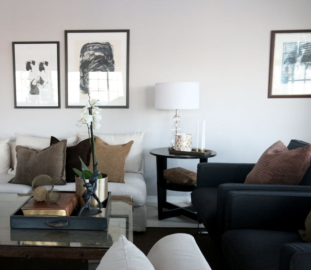 Contemporary living room in grey, brown with brass and art. http ...