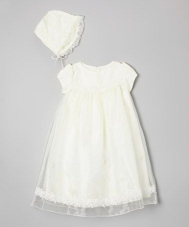Ivory Lace Overlay Gown & Bonnet - Infant by Kid's Dream #zulily #zulilyfinds