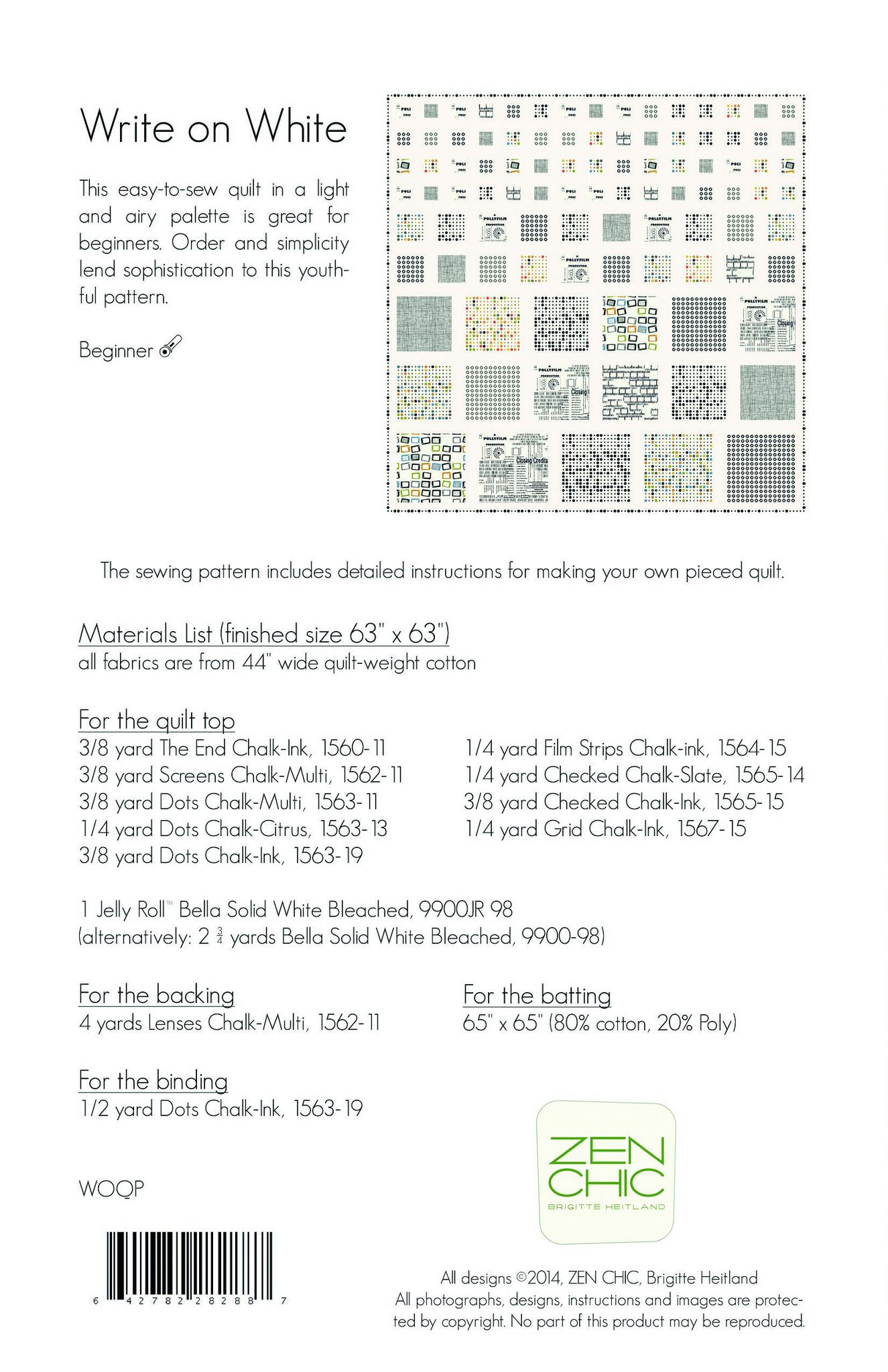 Write on White | ZEN CHIC Patterns | Chic quilts, Chic ...