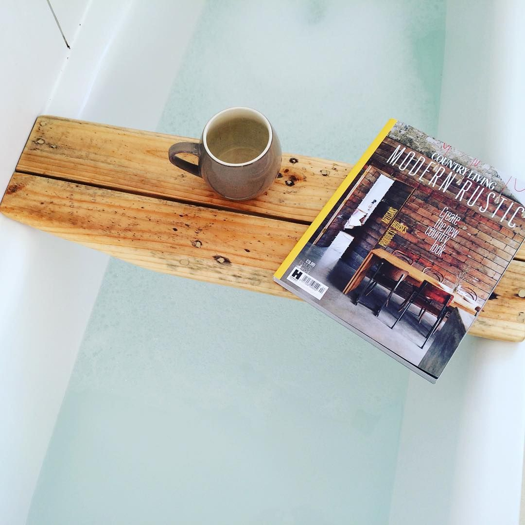 Angled bath caddy made from #reclaimedwood link in bio #modernrustic ...