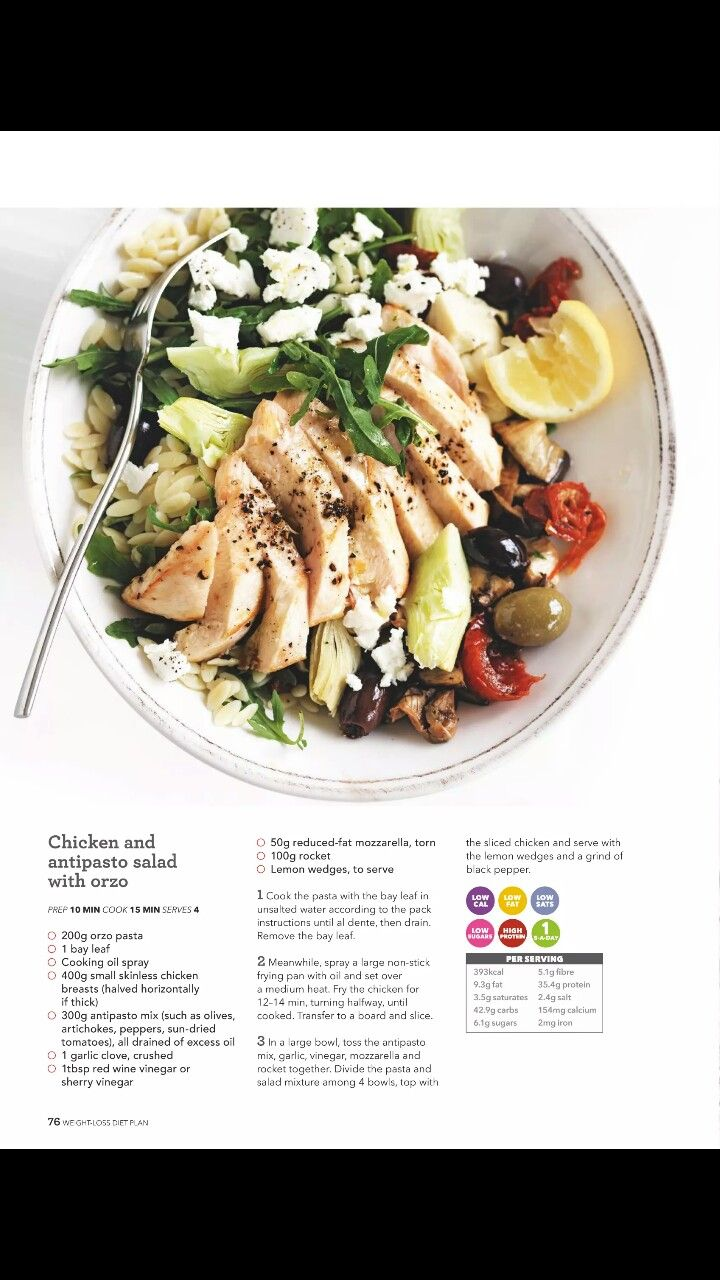 chicken and antipasto salad with orzo