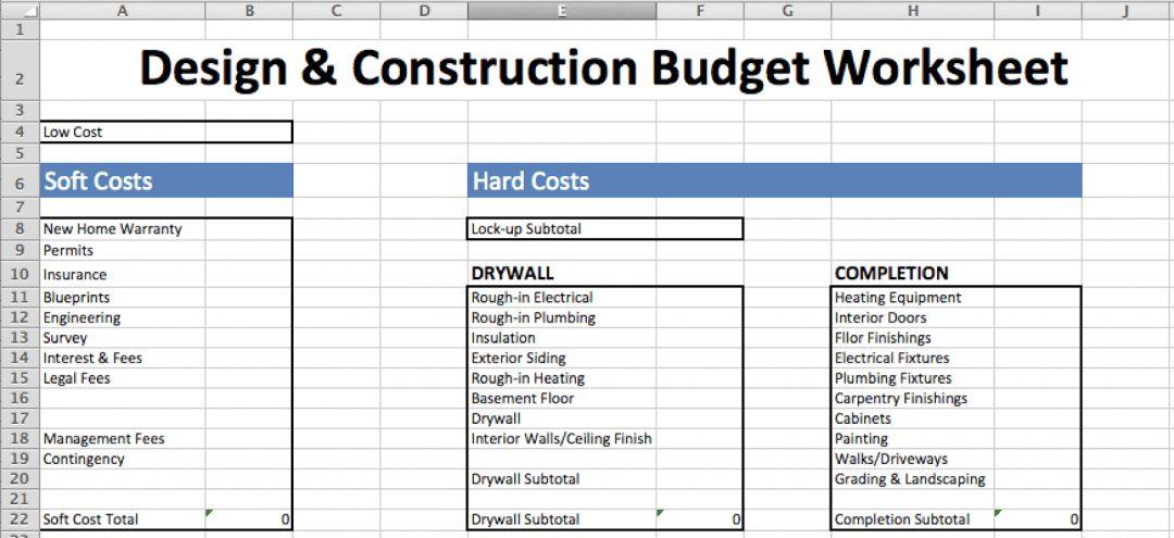 Construction Estimate Worksheet in 2020 Estimate
