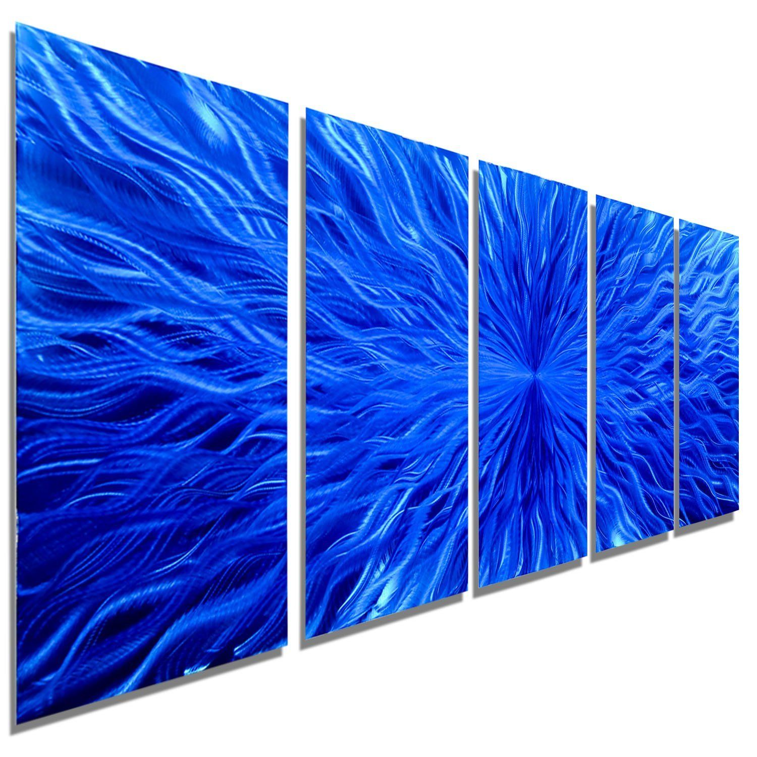 Blue Metal Wall Decor Mesmerizing Large Blue Contemporary Metal Wall Art Sculpture  Multi Panel Decorating Design