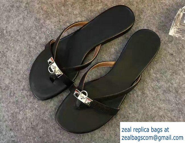d93c231003ffe2 Hermes Calfskin Corfou Slipper Sandals Black 2017
