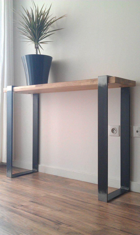 console industrielle acier et bois brut