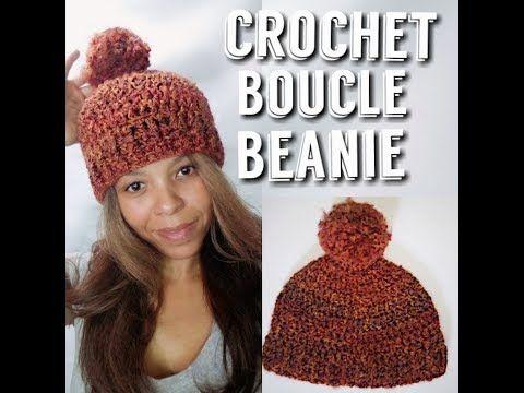 e33e1386d9f Crochet hat using Homespun yarn. Boucle yarn project. easy crochet hat  Littlejohn s Yarn - YouTube