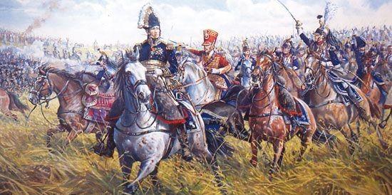 Der Saarlouiser Maréchal (Marschall) Michel Ney an der Spitze der französischen Kürassiere bei Waterloo