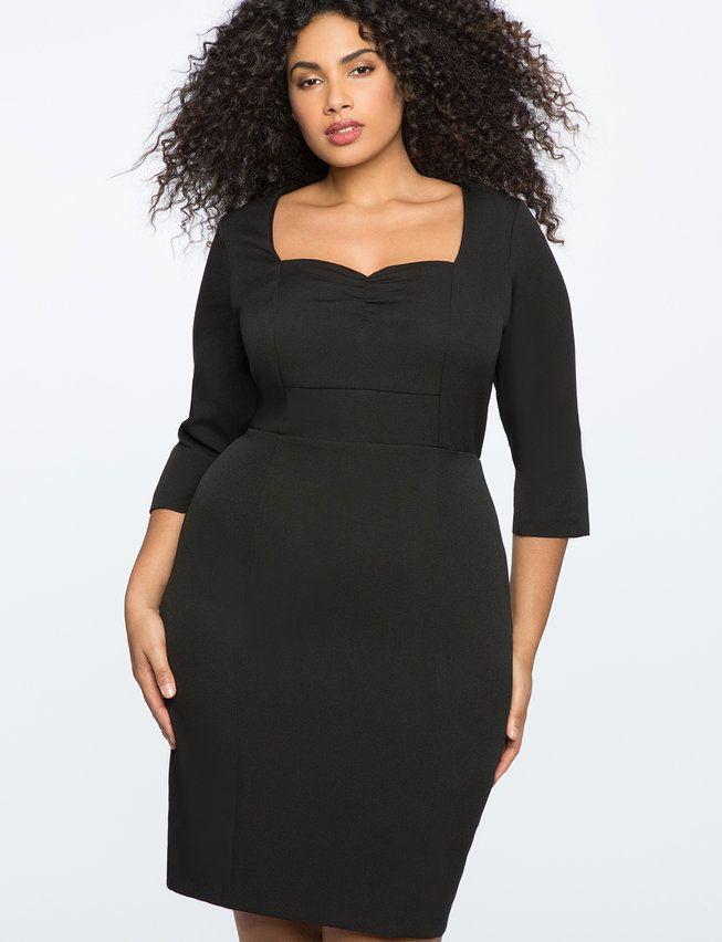 34 Sleeve Dress With Sweetheart Neckline Womens Plus Size