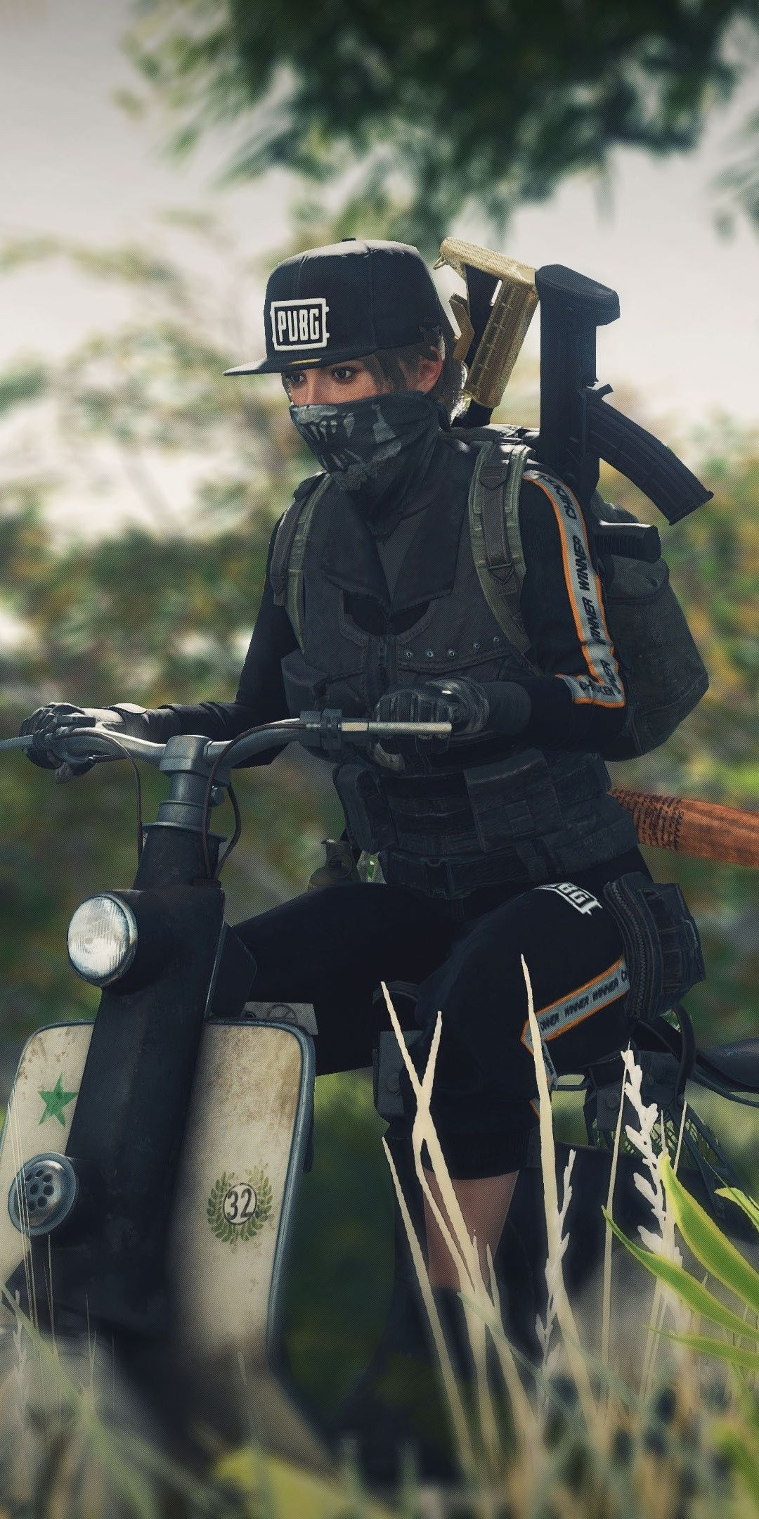 PUBG, video game, girl on scooter, 1080x2160 wallpaper