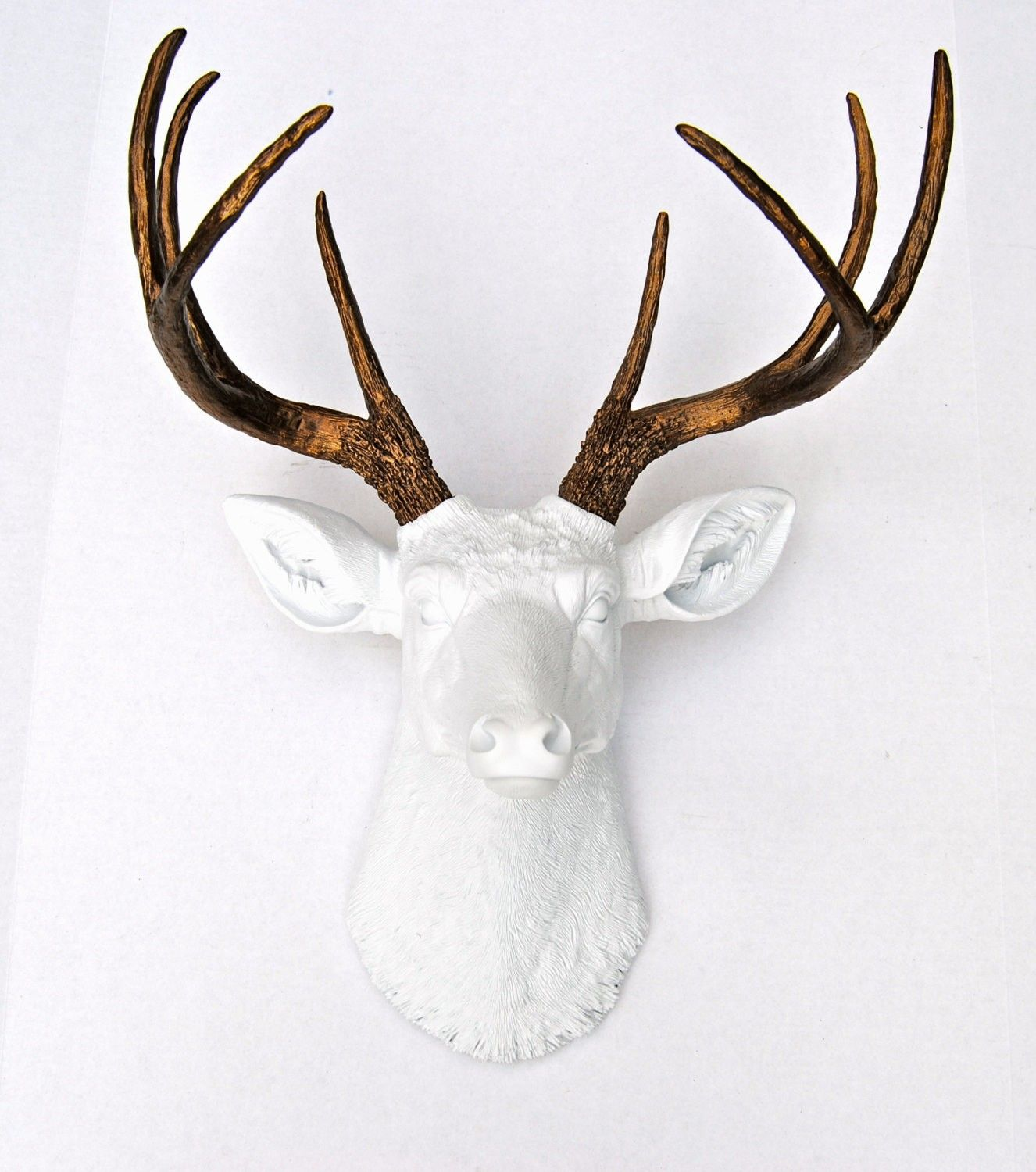 Faux Deer Head Wall Mount White And Bronze Faux Deer Head Faux Deer Deer Head