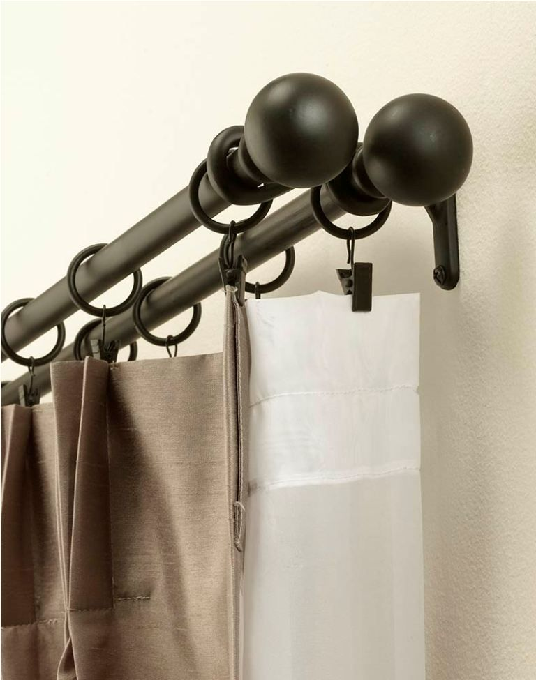 Curtain Rods Black Wrought Iron Double Rod Curtains Double