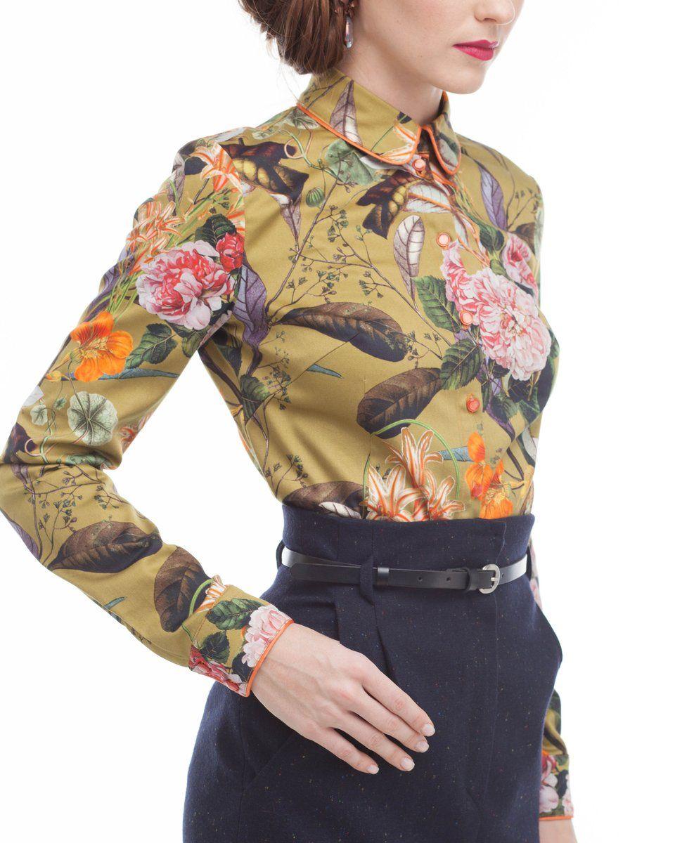 Рубашка приталенного силуэта с цветочным принтом