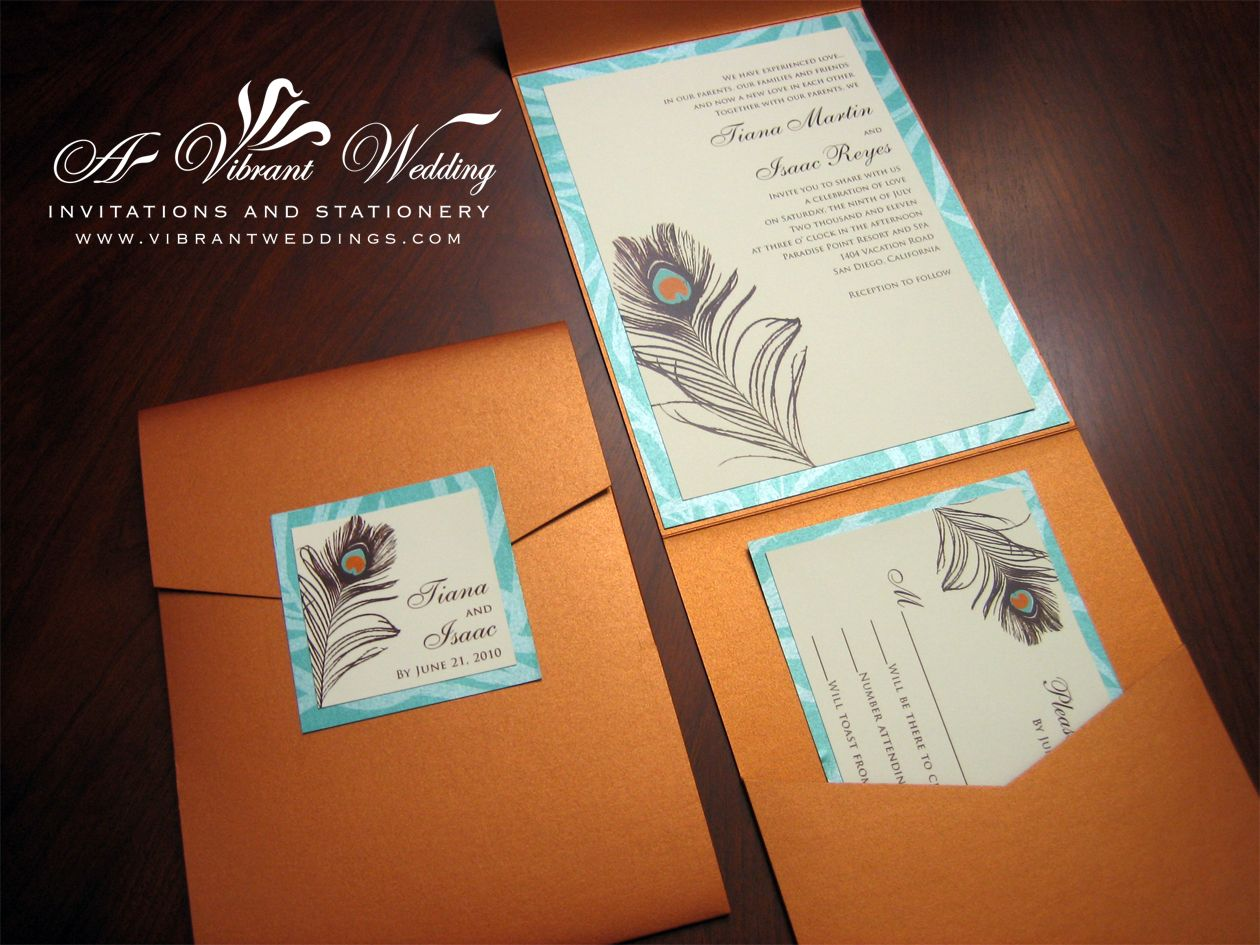 Orange And Turquoise Wedding Invitations Burnt Invitation With Pea Feather