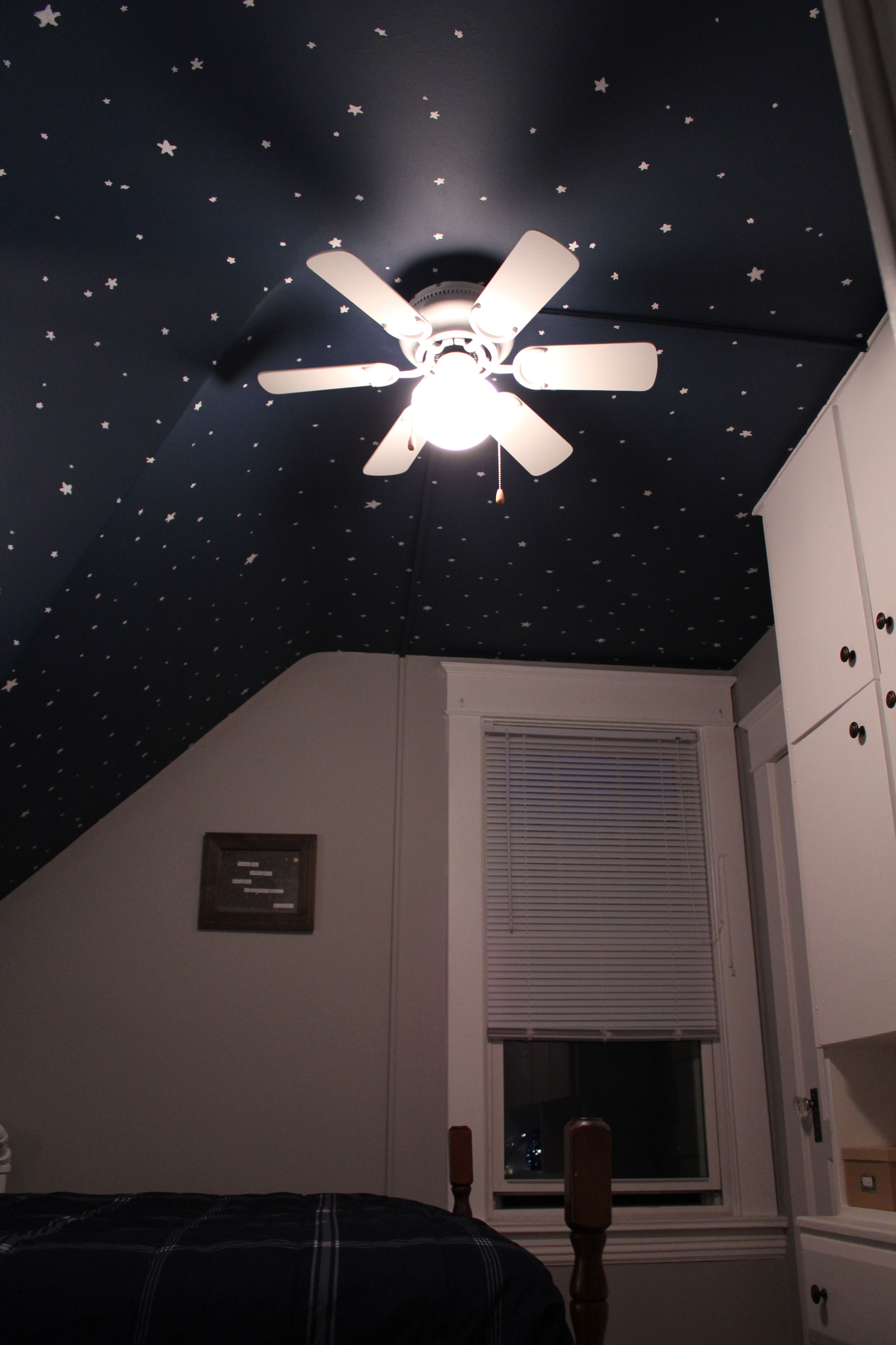 """Night sky ceiling! Background is Behr """"Twilight Chimes"""