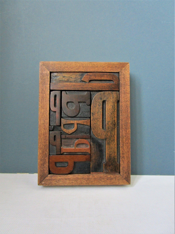 Mid Century Letterpress Printing Blocks Mounted Framed Dark Wood Frame Uppercase Letter P Vintage Dark Wood Frames Vintage Home Offices Letterpress Printing