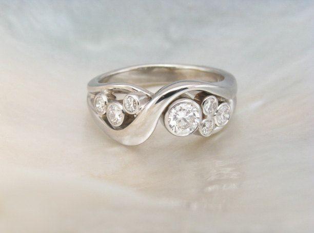 bezel set bubble diamond ring in 14k white gold -- artisan handmade engagement ring