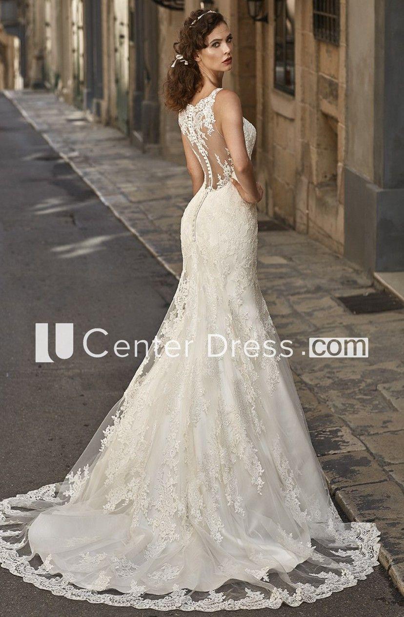 c6b0aa783f8a Trumpet Scoop-Neck Long Appliqued Sleeveless Lace Wedding Dress - UCenter  Dress