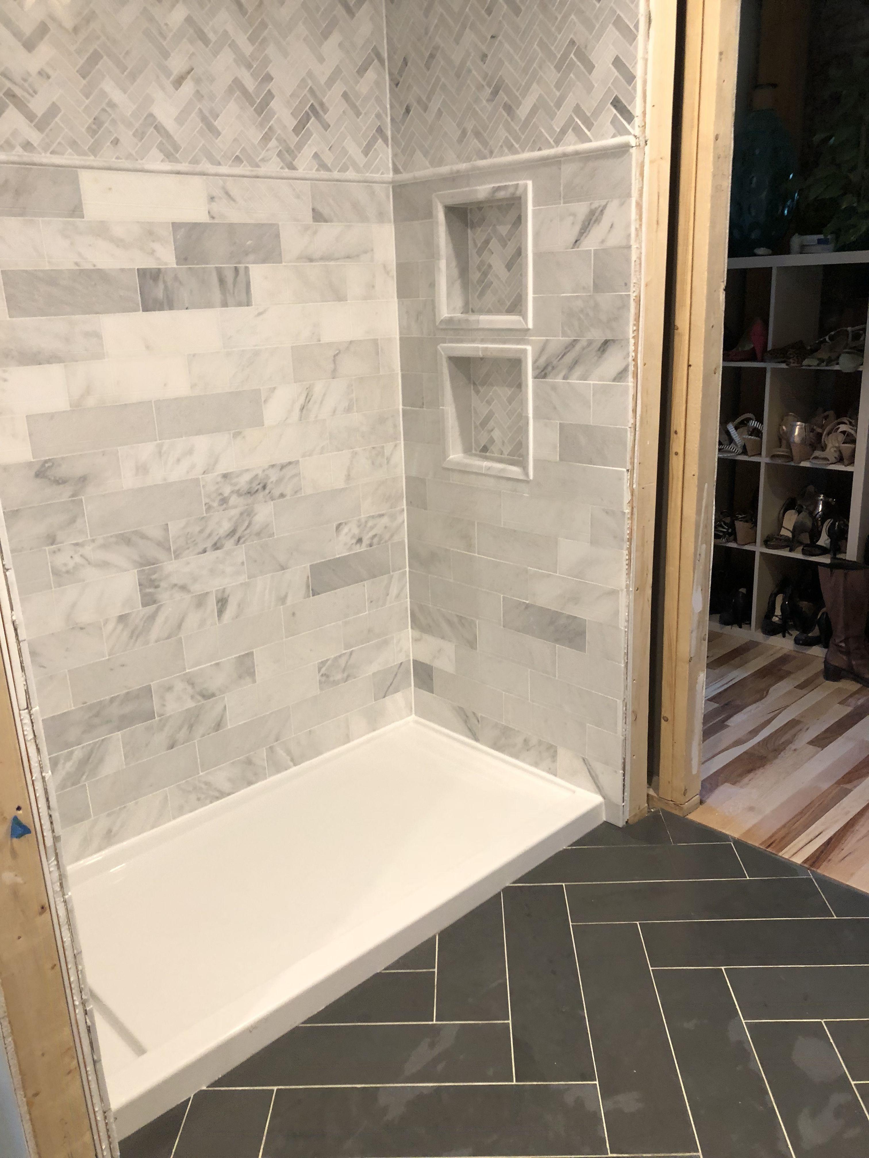 Bathroom Progress 6x24 Herringbone Slate Floor Tile 4x12 Marble