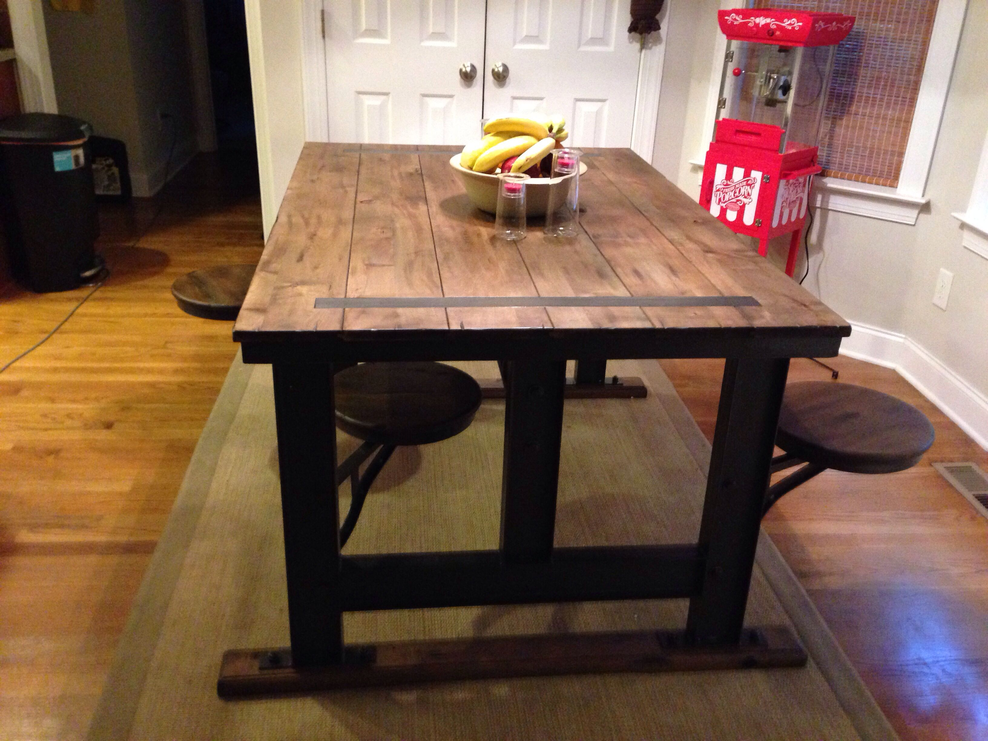 cafeteria style table with swivel stools from world market