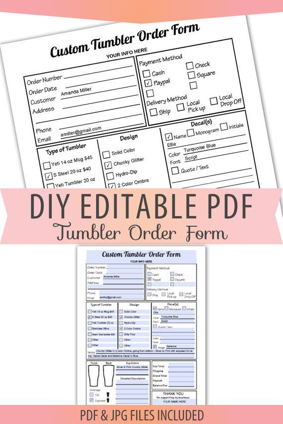 free tumbler order form template  Editable PDF TUMBLERS Order Form Decals HydroDip Letter Size ...