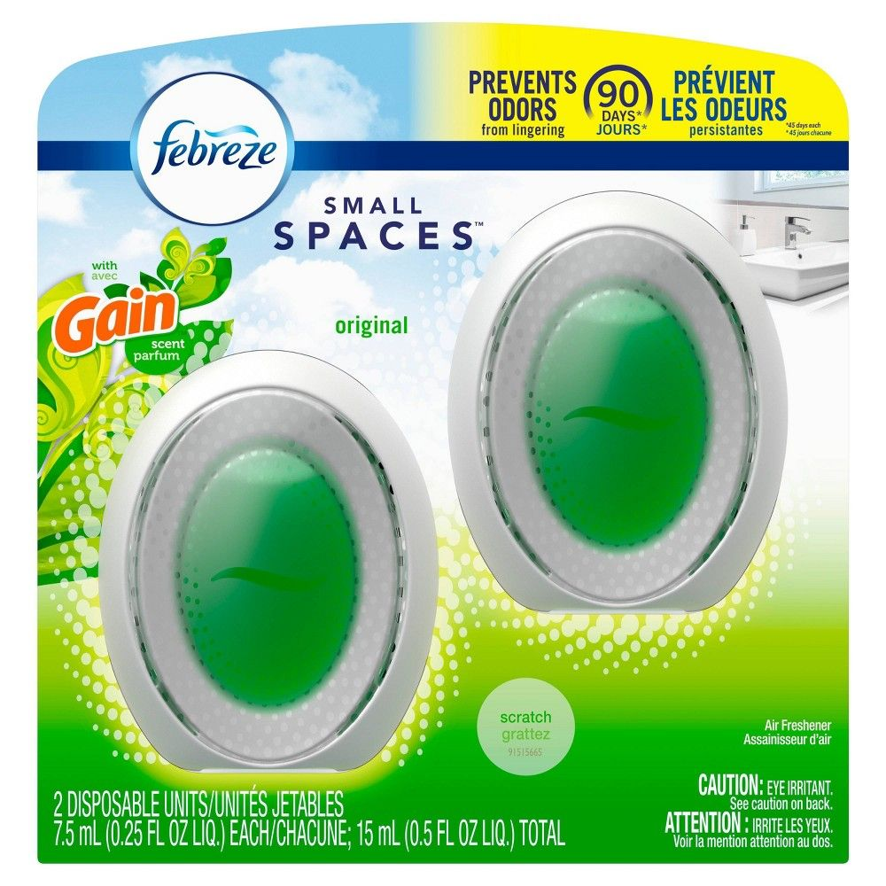 Febreze Odor Eliminating Small Spaces Air Freshener With Gain Scent Original 2ct Febreze Gain Scent Air Freshener