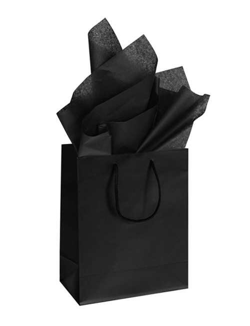 Matte Black Gift Bags Tissue Paper Sets Simple Stylish The Black Collection Silver Ribbon Studio Black Gift Bags Logo Packaging Design Black