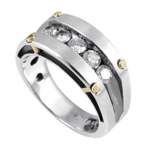 IB Goodman 14K White Yellow Gold Diamond Ring 63782XGW4X3 Mens
