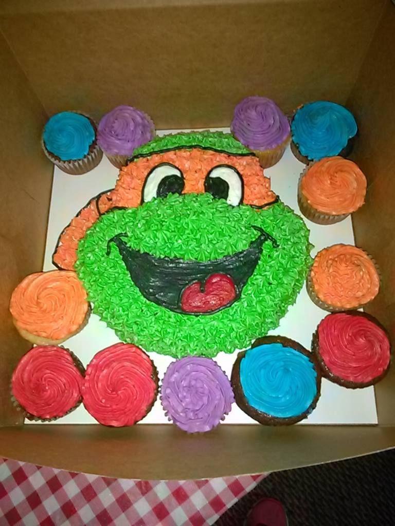 ninja turtle cake and cupcakes