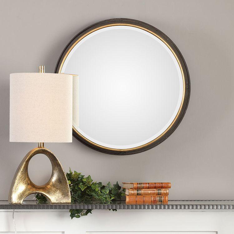 Sturdivant Antiqued Gold Round Wall Mirror Round Gold Mirror Antique Gold Mirror Round Mirrors