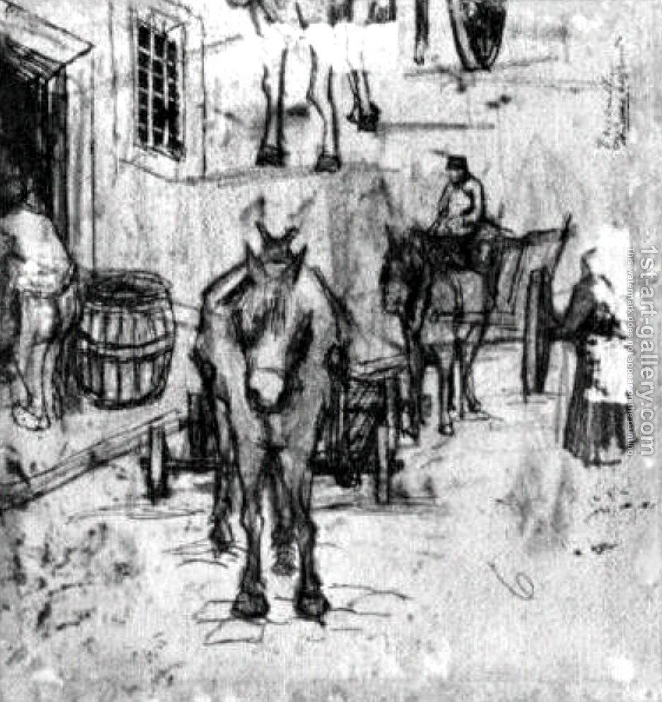 Studies Of Donkey Carts Painting By Vincent Van Gogh Reproduction 1st Art Gallery Artist Van Gogh Van Gogh Van Gogh Drawings